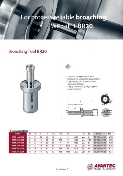 Broaching tool BR20 ENG
