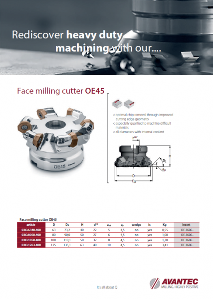 Face milling cutter OE45 ENG