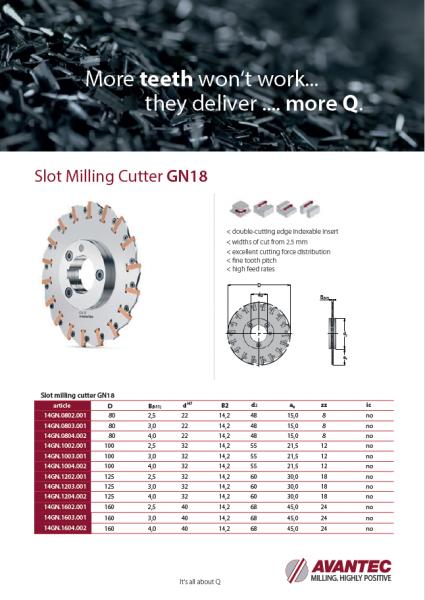 Slot milling cutter GN18 ENG